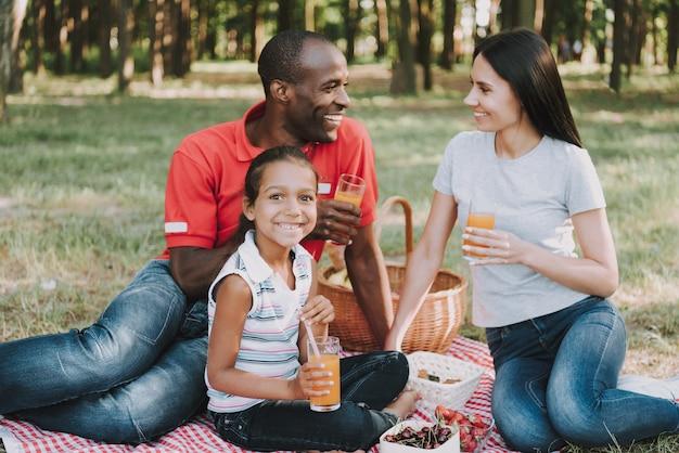 Famille multinationale boire du jus de fruits sur un pique-nique.