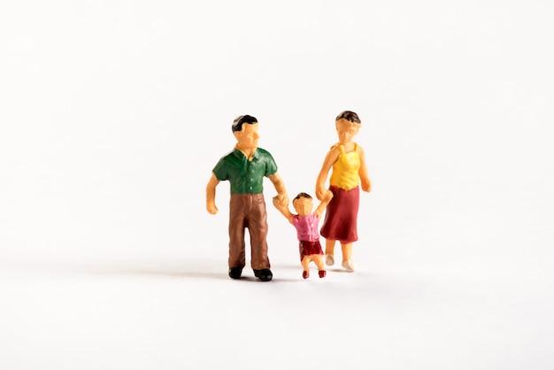 Famille de personnes miniatures avec leurs parents et leur fils