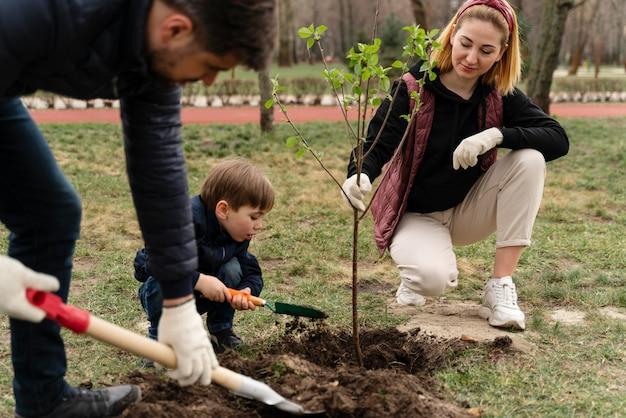 Famille plaquant ensemble un arbre