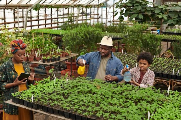 Famille de trois plantes d'arrosage ensemble tandis qu'une femme utilise une tablette numérique dans la serre