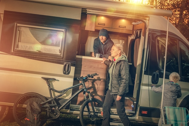 Family motorhome camping