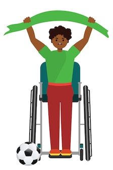 Fan de football ou de football afro-américain de dessin animé en illustration de fauteuil roulant.