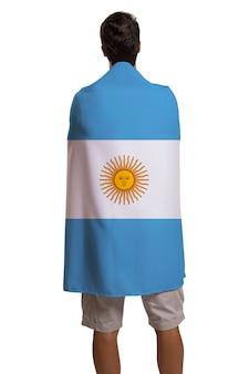 Fan tenant le drapeau de l'argentine célèbre sur l'espace blanc