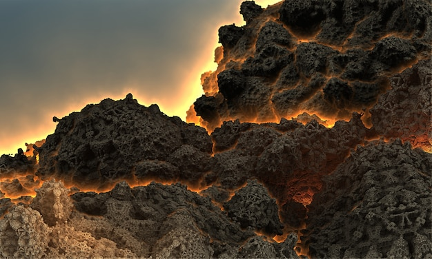 Fantastique image 3d d'un volcan avant une éruption avec un feu sortant par les failles de la montagne