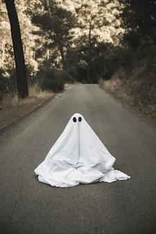 Fantôme assis sur une route de campagne