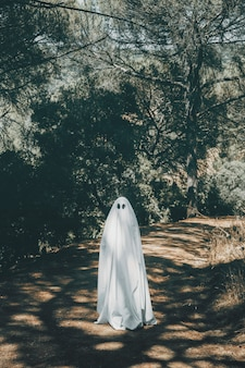Fantôme debout sur une passerelle dans un parc verdoyant