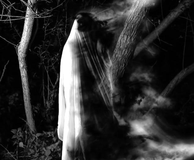 Fantôme la nuit à l'extérieur. photographie en noir et blanc. concept de film d'horreur. des choses effrayantes dans la forêt. idée de déguisement d'halloween. fêtes d'automne de la toussaint.