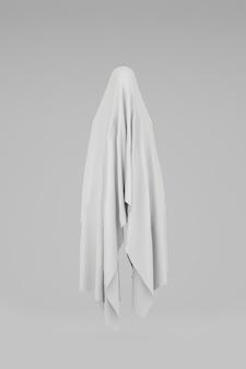 Fantôme suspendu dans l'air sur fond blanc. concept pour halloween