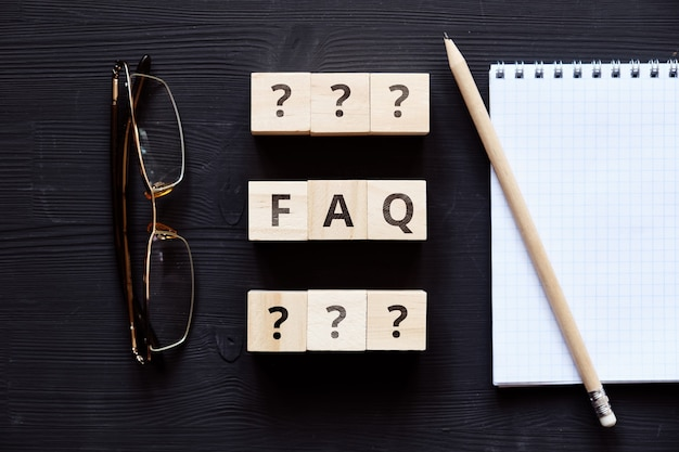 Faq concept sur les principaux problèmes sur des sujets communs.