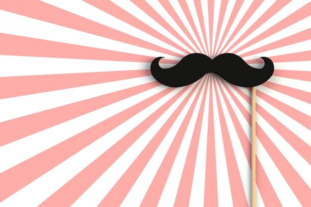 Fausse moustache noire sur une planche en bois rouge et blanche, rendu 3d