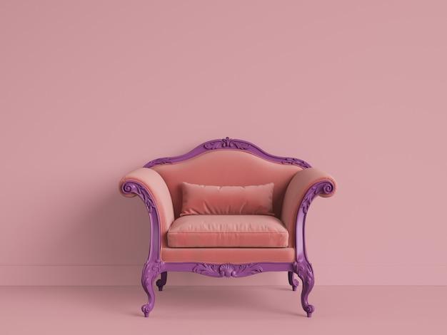 Fauteuil baroque classique de couleur violet-orange dans une chambre rose avec espace copie. rendu 3d