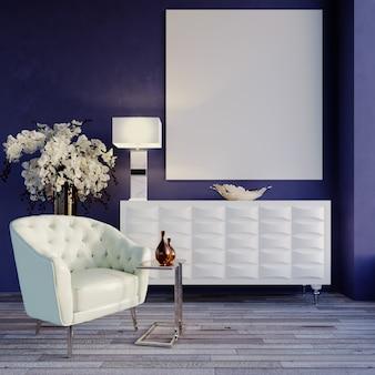 Fauteuil blanc murs violet bleu rendu 3d avec armoire blanche moderne et cadre photo