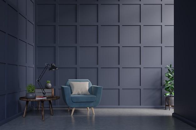 Fauteuil bleu contre un mur bleu foncé avec une armoire, une table, une lampe et un livre dans l'intérieur du salon avec des plantes