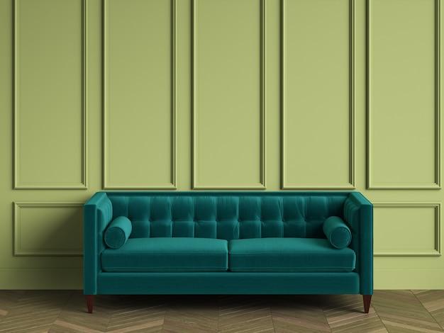 Fauteuil capitonné bleu dans un intérieur classique avec espace copie. murs verts avec moulures. parquet au sol à chevrons. rendu 3d