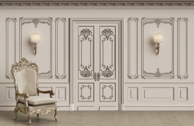 Fauteuil classique dans un intérieur classique avec espace copie
