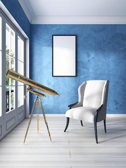 Fauteuil classique près de la fenêtre avec un télescope doré et une maquette d'affiche blanche au mur. rendu 3d.