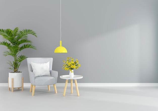 Fauteuil dans le salon gris avec espace libre