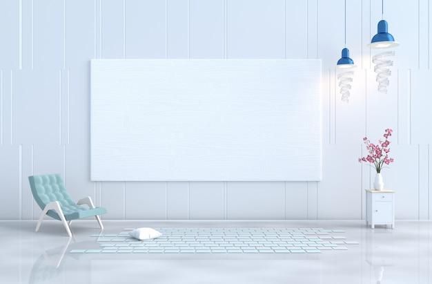 Fauteuil décor de salon blanc, mur en bois blanc, orchidée. noël, nouvel an. 3d