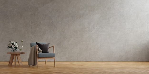 Fauteuil gris foncé et table en bois à l'intérieur du salon avec plante, mur en béton. rendu 3d