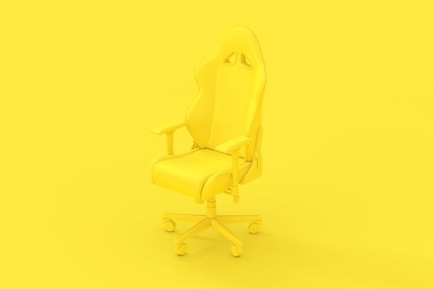 Fauteuil de jeu d'ordinateur jaune moderne professionnel comme style duotone sur fond jaune. rendu 3d
