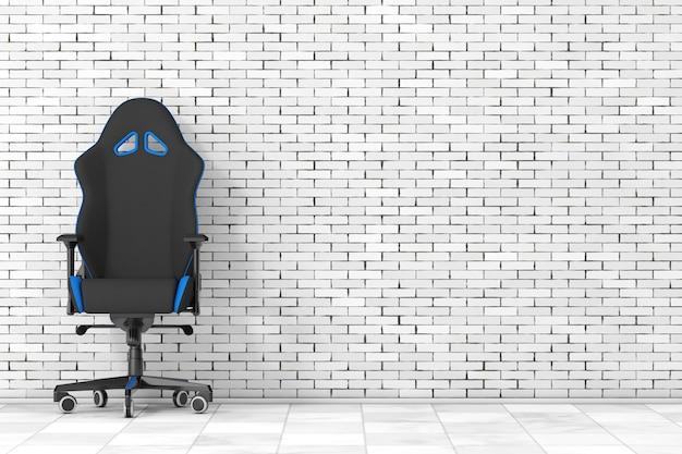 Fauteuil de jeu d'ordinateur noir et bleu moderne professionnel devant le mur de briques. rendu 3d
