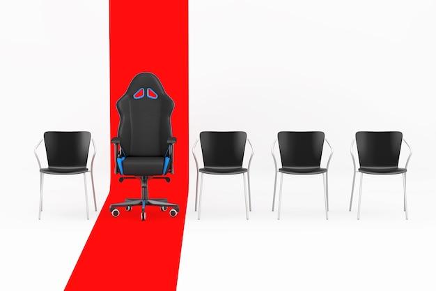Fauteuil de jeu d'ordinateur noir et bleu moderne professionnel en rangée avec des chaises simples sur une ligne rouge sur fond blanc. rendu 3d