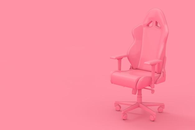 Fauteuil de jeu d'ordinateur rose moderne professionnel comme style bicolore sur fond rose. rendu 3d