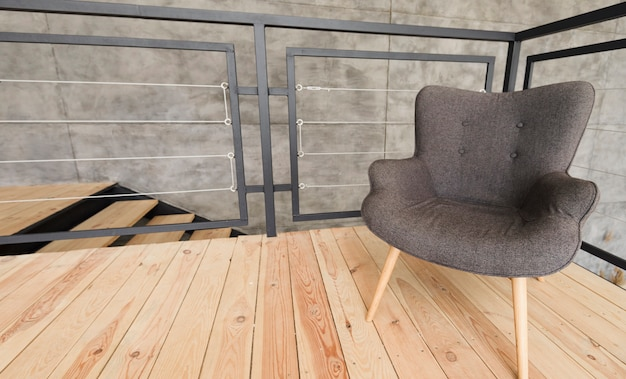 Fauteuil moderne élégant sur socle en bois