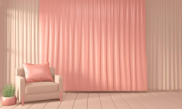 Fauteuil et salle de décoration couleur intérieur style corail vivant, rendu 3d