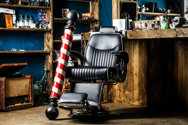 Fauteuil de salon de coiffure. salon pour hommes.