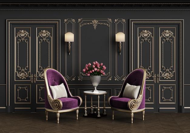 Fauteuils classiques dans un intérieur classique avec espace copie