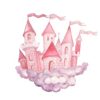 Fée princesse château illustration aquarelle dessinés à la main ensemble impression textile fond clipart pour petites filles pour les félicitations de vacances nuages couleur rose image mignonne