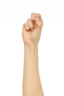 Femelle copyspace geste de la main de tenir quelque chose