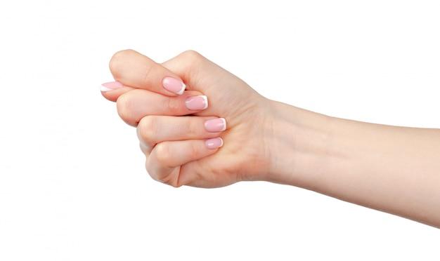 Femelle main gesticulant fig sur fond blanc