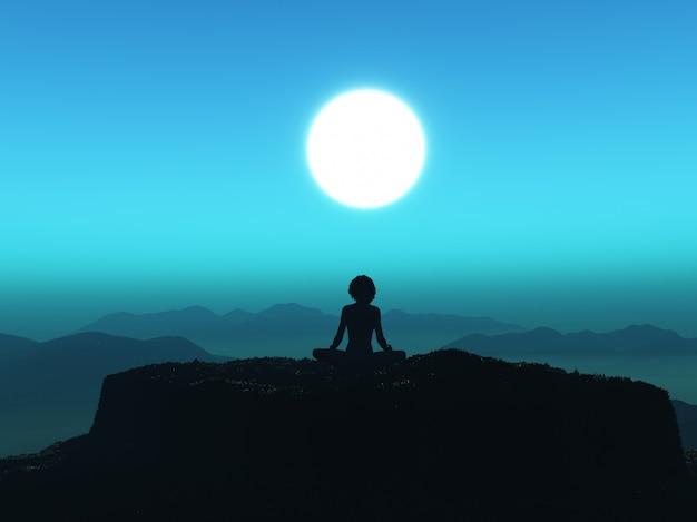 Femme 3d en posture de yoga sur la falaise contre le ciel coucher de soleil