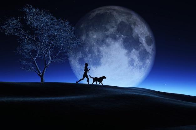 Femme 3d et son chien jogging dans un paysage de nuit avec la lune dans le ciel