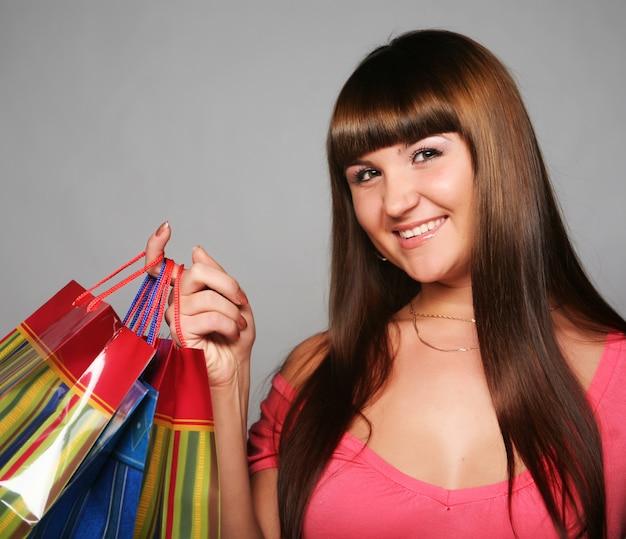 Femme, achats, sacs
