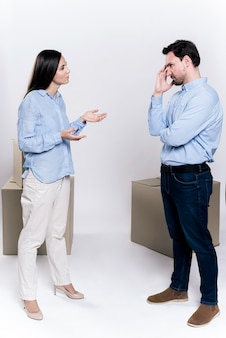 Femme adulte, et, mâle, discuter
