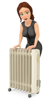Femme d'affaires 3d se réchauffant avec un radiateur portable