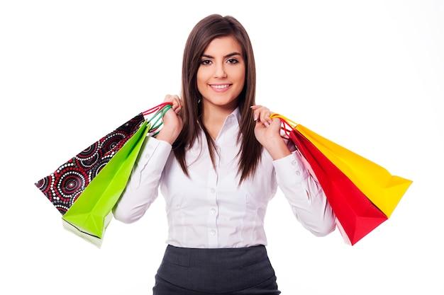 Femme affaires, sur, achats