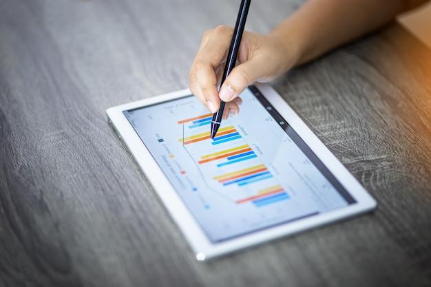 Femme d'affaires, analyse des graphiques sur une tablette numérique dans un bureau