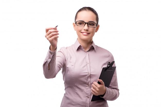 Femme d'affaires en appuyant sur le bouton virtuel isolé sur blanc