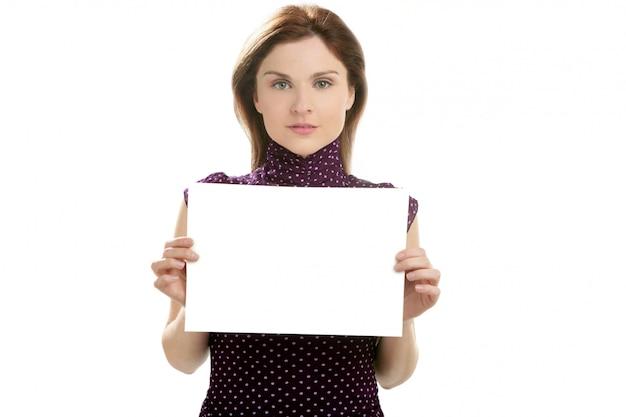 Femme affaires, à, blanc, affiche