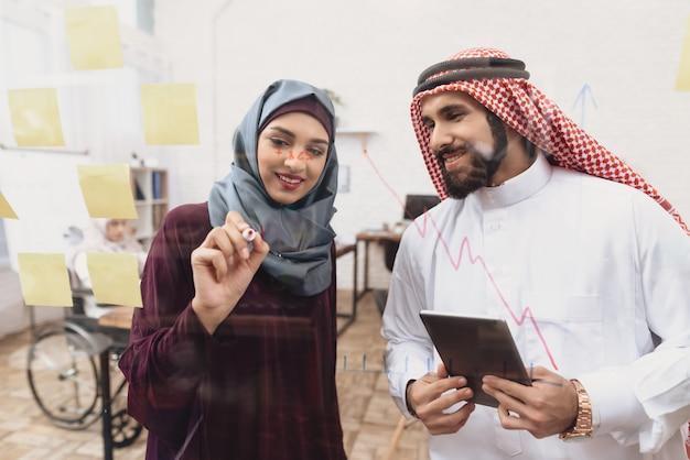Femme d'affaires et collègue arabe confiant.