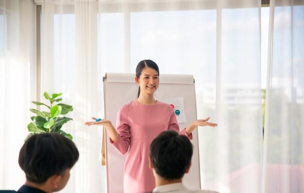 Femme d'affaires conférencière donnant une conférence au public lors de la conférence de réunion d'affaires