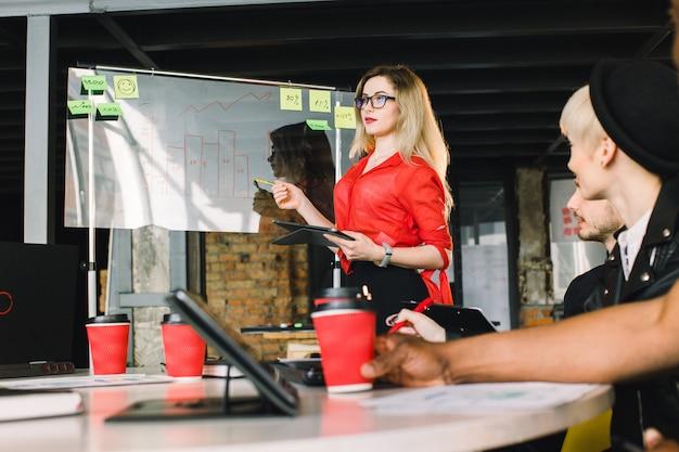 Femme d'affaires confiant en chemise rouge commentant les résultats du marketing aux collègues lors de la réunion. freelance, travail d'équipe