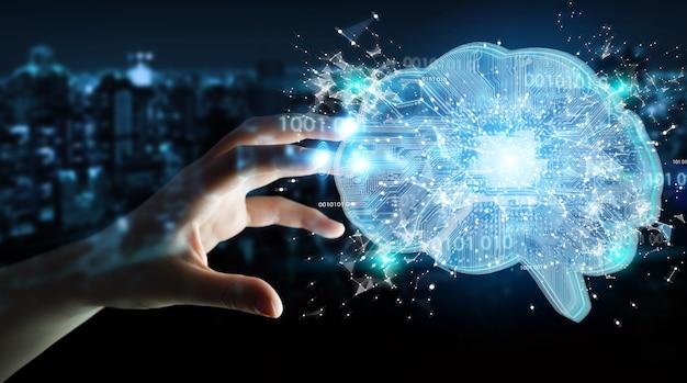 Femme d'affaires créant une intelligence artificielle dans un cerveau numérique