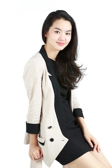 Femme Affaires, Dans, A, Costume Blanc Photo Premium