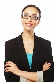 Femme affaires, dans, lunettes, grand plan
