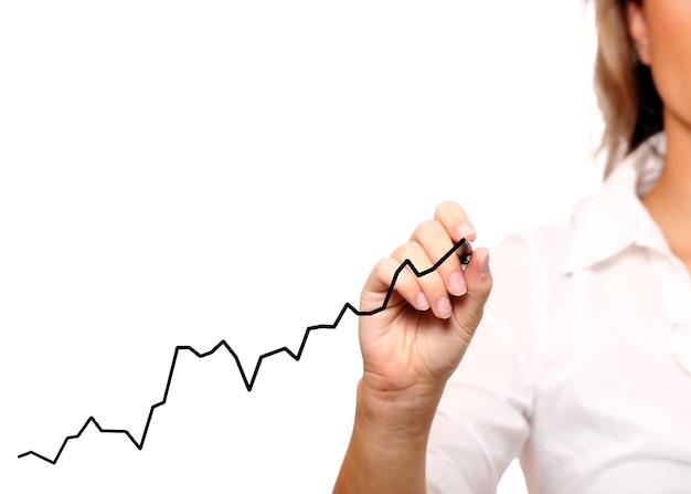 Une femme d'affaires dessinant un graphique sur fond blanc